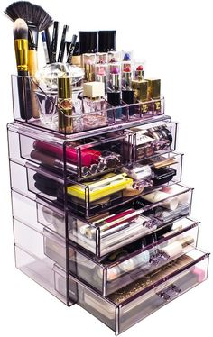 Cq acrylic Large 3 Tier Clear Acrylic Cosmetic Makeup Storage Cube Organizer with 3 Drawers. It Consists of 2 Separate Organizers, Each of Which Can be Used Individually - Cute Makeup Guide Hanging Makeup Organizer, Make Up Organizer, Makeup Storage Organization, Make Up Storage, Make Up Organization Ideas, Organization Skills, Office Organization, Storage Ideas, Cocoppa Wallpaper