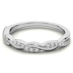 0.22ct Round cut Stackable Wedding Band, Twisted Wedding Band, Delicate 14K White Gold Ring, Unique promise Gift Thin Wedding Bands, Stackable Wedding Bands, Diamond Wedding Bands, Pretty Rings, Beautiful Rings, Diamond Bands, Gold Bands, Latest Ring Designs, Antique Diamond Rings