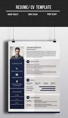 Buy One Page Resume/CV by Nirmola on GraphicRiver. Information: - Size: In - one page Resume/ CV - Resolution: 300 dpi - Color mode: CMYK - Bleed: in . Creative Cv Template, One Page Resume Template, Resume Design Template, Design Resume, Design Templates, Layout Design, Cv Design, Word Design, Graphic Design