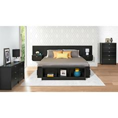 Prepac Furniture Series 9 Floating Headboard with Nightstands