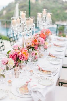 A bash filled with peach bellinis and blooms at Belmond Hotel Splendido overlooking Portofino.