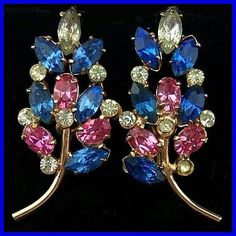 "Vintage Earrings SIGNED STERLING Big Leaf Blue Pink Clear Rhinestone Screw Back Style 1.5"" EX. $24.50, via Etsy."