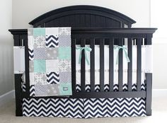 Custom Crib Bedding - Mint, Navy, and Grey Baby Bedding with Mesh Bumper on Etsy, $405.00