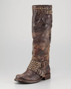 Jenna Studded Tall Boot by Frye at Neiman Marcus.