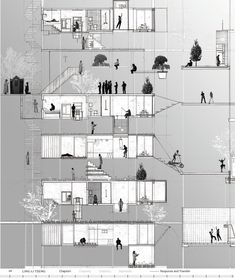 Conceptual Drawing Responsive Architecture Ling-Li Tseng 2008 > Conceptual section use diagram drawing < Coupes Architecture, Architecture Design, Architecture Graphics, Architecture Board, Architecture Visualization, Architecture Drawings, Architecture Portfolio, Architecture Diagrams, Planer Layout