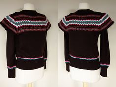 1980s winged sweater acrylic knit brown by DottieMaeVintage