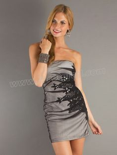 Short Strapless Embroidered Print Sexy Homecoming Dress with Natural Waistline