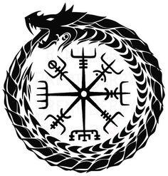 "dragondragon dragon Ouroboros Dragon Ring - Fine ""Valknut Odin Symbol Celtic Norse Viking Rune Nordic"" Stickers by Anne Mathiasz Viking Compass Tattoo, Viking Tattoo Sleeve, Viking Tattoo Symbol, Norse Tattoo, Celtic Tattoos, Viking Tattoos, Viking Dragon Tattoo, Odin Symbol, Wiccan Tattoos"