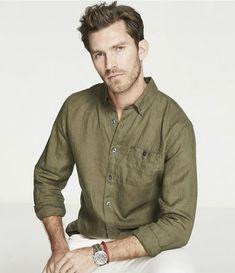 Todd Snyder olive linen shirt, $158.