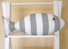 Gray and White Striped Fish Pillow  Neutral by CatherinePicone, $21.00