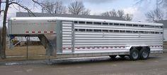 Tandem axel aluminum stock trailer. Livestock Trailers, Horse Trailers, Gooseneck Trailer, Tandem, Rigs, Farming, Ranch, Dairy, Trucks