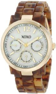 XOXO Women's XO5509 Tortoise Bracelet with Gold Case Watch