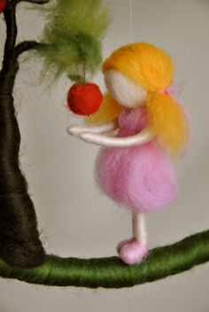 Waldorf inspired needle felted doll mobile: Girl in by MagicWool