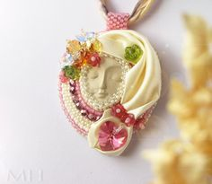 Handmade necklace with face, beadweaving, beadembroidery. Lovely summer mood :)