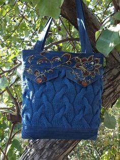 """Сумка""""МИКС""""ПРОДАНА - синий,сумка вязаная,сумка женская,авторская сумка"""