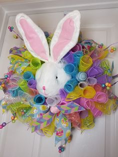 Deco Mesh Pastel Curls Bunny/Rabbit Easter Wreath, Ready to Ship by WreathsbyCrazyLady on Etsy