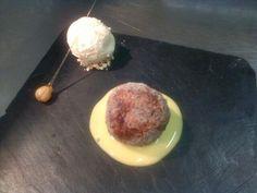 Choc arancini, creme anglaise, vanilla icecream and a hazelnut twist! @EDTSE22