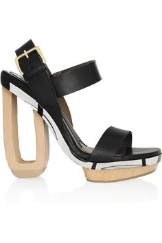 Marni Leather and wood sandals NET-A-PORTER.COM