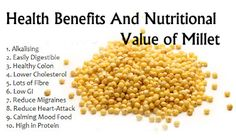 Millet is a gluten free grain with many benefits. It improves digestion and heart health, prevents diabetes, detoxifies the body, and boosts Millet Benefits, Fruit Benefits, Matcha Benefits, Coconut Health Benefits, Holistic Nutrition, Health And Nutrition, Health And Wellness, Nutrition Guide, Nutrition Education