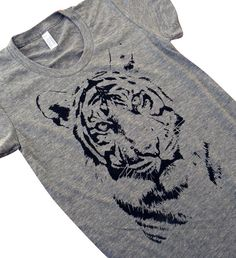 Tiger print on an American Apparel ladies Tri-blend T-shirt - (Available in sizes S, M, L, XL)