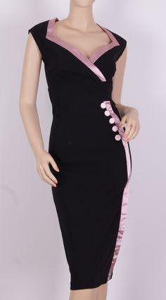 1950s black wiggle dress-7284B