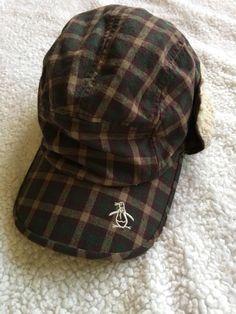Mens Munsingwear Plaid Penguin Sherpa Baseball Hat Size L XL  fashion   clothing  shoes 0f82707616ca