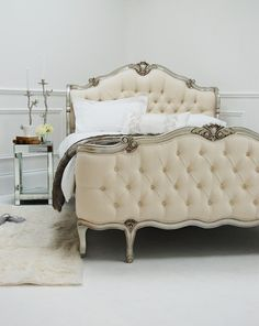 french furniture Beautiful french-style bed by Sweetpea amp; Im not crazy about the fabric color, but its still gorgeous. Home Design, Bed Design, Bedroom Bed, Dream Bedroom, Bedroom Decor, French Furniture, Furniture Design, House Furniture, Bedroom Furniture