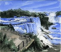 Niagara Falls, U.S.A. by Artist Illustrator David Crighton Art starting at $40. 15% discount for first time purchasers.