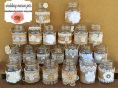 Burlap Mason jar Rustic wedding Country by ClaudiasCuteCouture