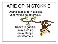 Afrikaans Is Maklik Preschool Poems, Kids Poems, Preschool Classroom, Toddler Learning Activities, Book Activities, Preschool Activities, Kids Learning, Quotes Dream, Life Quotes Love