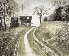 Fry Art Gallery Buys Striking Eric Ravilious Watercolour with Art Fund Help David Hockney, Michel, Landscape Art, Landscape Paintings, Painting & Drawing, Watercolor Paintings, Printmaking, Countryside, Illustrators
