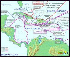 Conquista y colonización de (lo que hoy es) América. Conquista del Caribe. Lake Titicaca, Latin America, Sud America, Panama Canal, Conquistador, Galapagos Islands, Antique Maps, Historical Maps, American Indians
