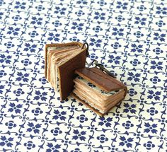 Tiny Book Earrings, Antique Look, Brown Leather, Tea Stained Paper with Blue and Cream endpapers