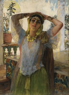 Young Oriental Woman on a Terrace, by Frederick Arthur Bridgman (American, 1847-1928)