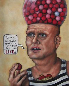 Man With Gumball Machine | Cooney Brothers davidcharlesfoxexpressionism.com #leighcooney #lowbrowart #rolocooney #cooneybrothers #outsiderart #neofolk #satire #surrealist