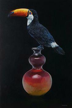 Grace Kotze: Toucan And Antique Vase: fine art | StateoftheART Toco Toucan, Original Artwork, Original Paintings, South African Artists, Office Art, Living Room Art, Art Online, Pet Birds, Home Art