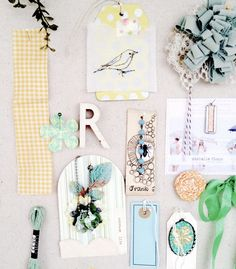 Rebecca Sower ... Inspiration board for Spring: love the fabric flower, bird tag and bumble bee image