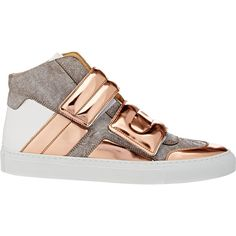 MM6 Maison Margiela Double-Strap Mixed-Material Sneakers (5.593.395 IDR) ❤ liked on Polyvore featuring shoes, sneakers, nude, high top strap sneakers, strappy shoes, leather shoes, high top shoes and high top sneakers