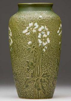 North Dakota School of Mines - Flowers Vase. Incised & Glazed Pottery. Circa 1927.