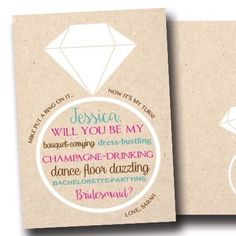 We now offer custom bridesmaid/maid of honor ask cards!