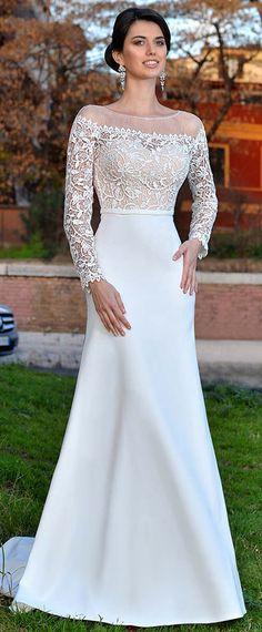 Romantic Lace & Satin Bateau Neckline Mermaid Wedding Dress With Belt