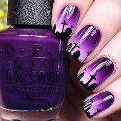 Graveyard Halloween nails by @nailsbycambria
