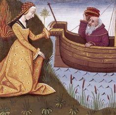XVI-Hypsipyle, reine de Lemnos, sauve son père Thoas alors que les autres Lemniennes étaient en train de mettre à mort tous les hommes de l'île (HYPSIPYLE, queen of Lemnos) -- Giovanni Boccaccio (1313-1375), Le Livre des cleres et nobles femmes, v. 1488-1496, Cognac (France), traducteur anonyme. -- Illustrations painted by Robinet Testard -- BnF Français 599 fol. 16 -- See also at: https://commons.wikimedia.org/wiki/File:Hypsipyle_sauve_Thoas_BnF_Fran%C3%A7ais_599_fol._16.jpg
