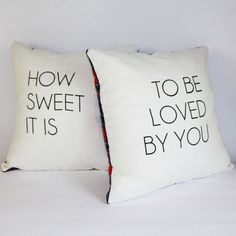 How sweet it is. screen printed pillow set how sweet it is screen printed pillow set by BUTTERdesignlab, Cute Pillows, Baby Pillows, Throw Pillows, My New Room, My Room, Logos Retro, Pillow Quotes, Pillow Set, Bolster Pillow