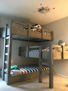 Bunk Beds for Small Rooms . Bunk Beds for Small Rooms. Bunk Beds Good Idea for Individual Lighting Shelf for Bunk Beds For Boys Room, Bunk Bed Rooms, Cool Kids Bedrooms, Cool Bunk Beds, Bunk Beds With Stairs, Kid Beds, Loft Beds, Bunk Bed Ideas For Small Rooms, Triple Bunk Beds