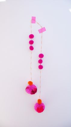 pink pom pom envy (studiodeseo) x Diy And Crafts, Crafts For Kids, Arts And Crafts, Mobiles, Ideas Geniales, Textiles, Pretty In Pink, Craft Projects, Banner