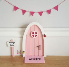 Personalised pink Fairy door great gift for girls and girls room, miniature bunting pretend play magic for fairies, elf, tooth fairy