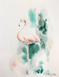 Flamingo Original Watercolor Painting, Salmon Pink Emerald Green, Abstract Flamingo Art