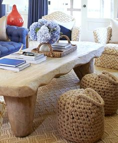 Rope Buoy Ottomans to keep you and your guests afloat. Interior design by Amanda Nisbet.