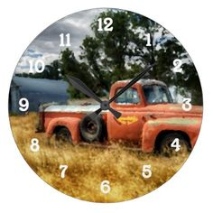 Route 66 Vintage Pick Up Truck Watercolor Large Clock - american travel gifts giftideas traveller america